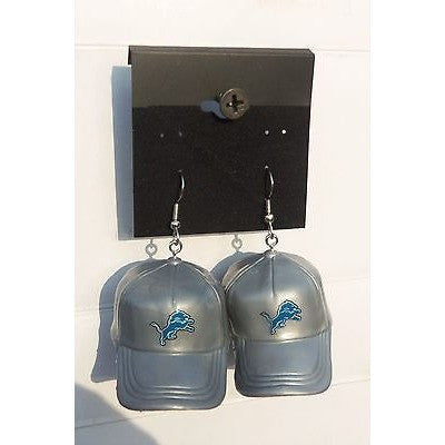 "NFL Dangling Detroit Lions Earrings Mini 2"" Solid Color Plastic Hat From Top"