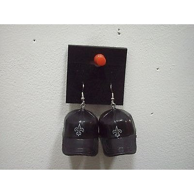 "NFL Dangling New Orleans Saints Earrings Mini 2"" Solid Color Plastic Hat From Top"