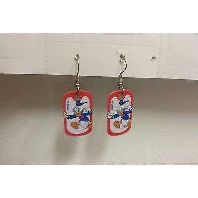 "Disney Dangling Earrings Donald Standing Image 5/8""x1 1/8"" Overall 1 3/4"" Height"