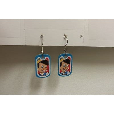 "Disney Dangling Earrings Pinocchio Face Image 5/8"" x1 1/8"" Overall 1 3/4"" Height"