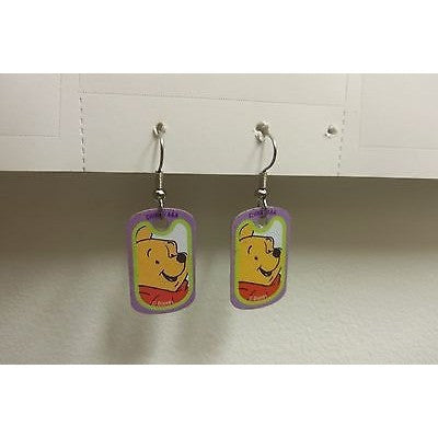 "Disney Dangling Earrings Pooh Face Image 5/8"" x1 1/8"" Overall 1 3/4"" Height"