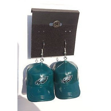 "NFL Dangling Philadelphia Eagles Earrings Mini 2"" Solid Color Plastic Hat From Top"