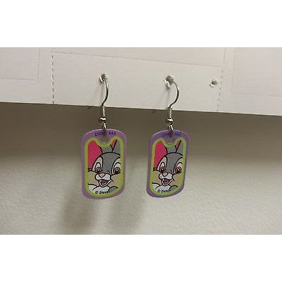 "Disney Dangling Earrings Thumper Face Image 5/8"" x1 1/8"" Overall 1 3/4"" Height"