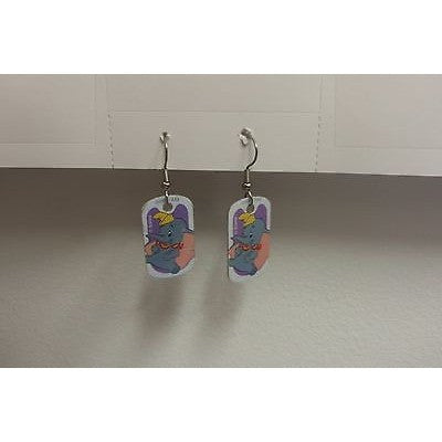 "Disney Dangling Earrings Dumbo Sitting Image 5/8"" x 1 1/8"" Overall 1 3/4"" Height"