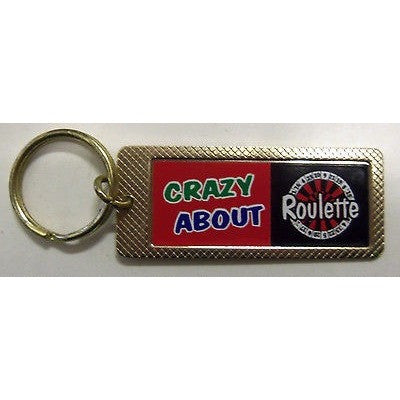 "Crazy About Roulette Gold Tone 3"" by 1.5"" Key Ring Keyring"