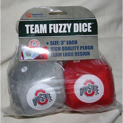 NCAA Ohio State Buckeyes Pair of Plush Fuzzy Dice by Fremont Die