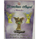August Guardian Angel Pin Birthstone Antiqued Gold Plated Message Miracles
