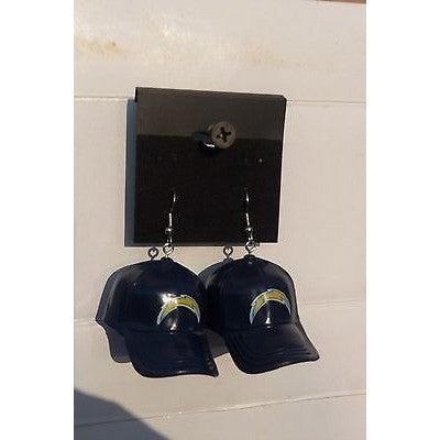 "NFL Dangling San Diego Chargers Earrings Mini 2"" Solid Color Plastic Hat From Top"