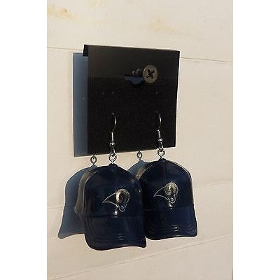 "NFL Los Angeles Rams Dangle Earrings Mini 2"" Solid Color Plastic Hat From Top"