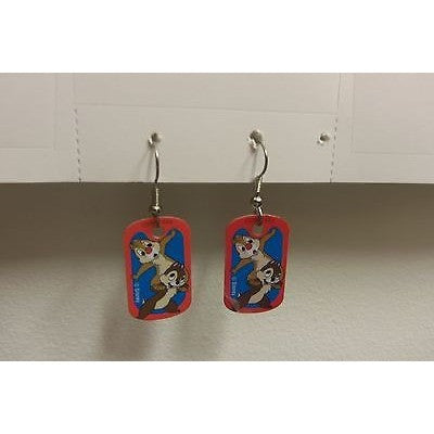 "Disney Dangling Earrings Chip N' Dale Standing Image 5/8"" x 1 1/8"" Overall 1.25"""