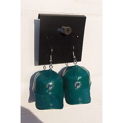 "NFL Dangling Miami Dolphins Earrings Mini 2"" Solid Color Plastic Hat From Top"