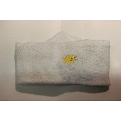 "Dove Soap Logo On White Terry Cloth 3"" Wide Headband 4"" Diameter"