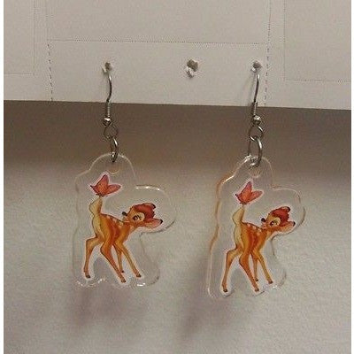 "Disney Bambi Standing Image on Dangling Earrings 1 1/4"" x 1 3/4"" Plastic Dangler"