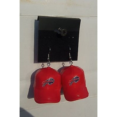 "NFL Dangling Buffalo Bills Earrings Mini 2"" Solid Color Plastic Hat From Top"