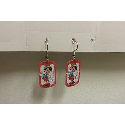 "Disney Dangling Earrings Pinocchio Standing 5/8"" x1 1/8"" Overall 1 3/4"" Height"