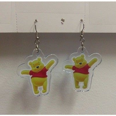 "Disney Pooh Standing Image on Dangling Earrings 1 1/2""x1 3/4"" Plastic Dangler"