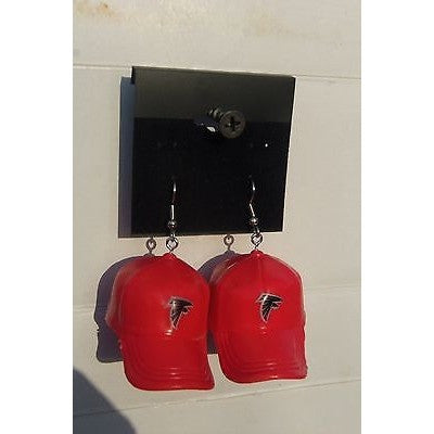 "NFL Dangling Atlanta Falcons Earrings Mini 2"" Solid Color Plastic Hat From Top"