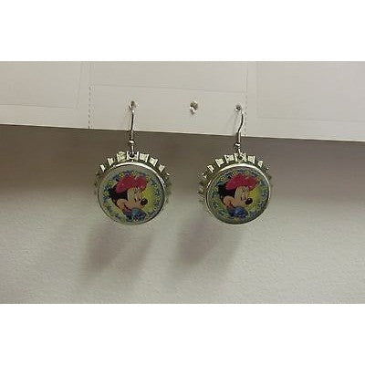 "Disney MINNIE MOUSE Dangling Earrings on Chromed 1 1/4"" Plastic Bottle Cap"