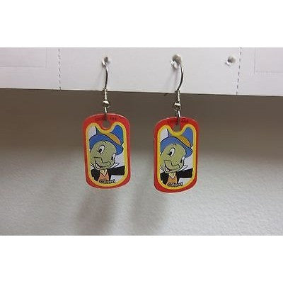 "Disney Dangling Earrings Jiminy Cricket Face 5/8"" x 1 1/8"" Overall 1 3/4"" Height"