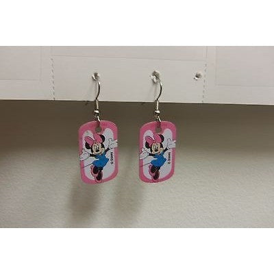 "Disney Dangling Earrings Minnie Standing Image 5/8""x1 1/8"" Overall 1 3/4"" Height"