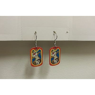 "Disney Dangling Earrings Chip N' Dale Faces 5/8""x1 1/8"" Overall 1 3/4"" Height"