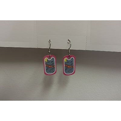 "Disney Dangling Earrings Dumbo Face Image 5/8"" x 1 1/8"" Overall 1 3/4"" Height"
