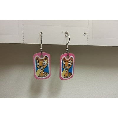 "Disney Dangling Earrings Bambi Face Image 5/8"" x 1 1/8"" Overall 1 3/4"" Height"
