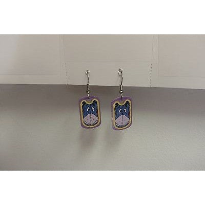 "Disney Dangling Earrings Eyore Face Image 5/8"" x 1 1/8"" Overall 1 3/4"" Height"