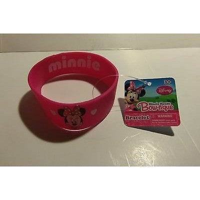 "1 Licensed Disney Minnie Mouse Bracelet 1"" Wide 2.5"" Round Rubber"