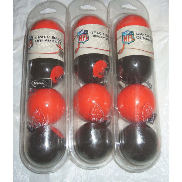 "NFL Cleveland Browns Christmas Ornaments 12 ct Lot 2"" Plastic Ball Orange & Brown"