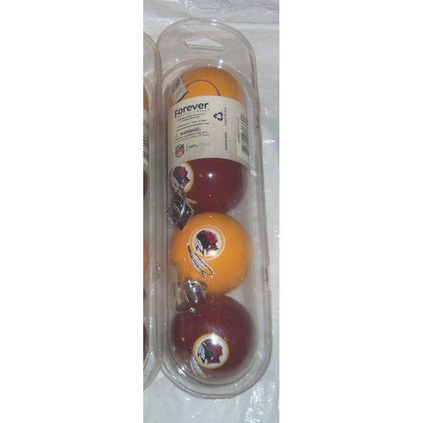 "NFL Washington Redskins 4 Pack 2"" Plastic Ball Christmas Ornaments Maroon & Yellow"