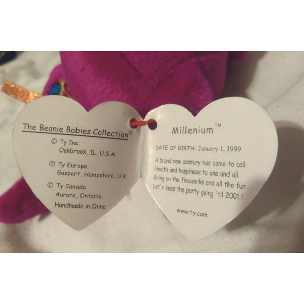 8ae29db5542 ... 1999 RARE 5 ERRORS TY Beanie Babies MILLENNIUM MISSPELLED Millenium  WITH TAG ...
