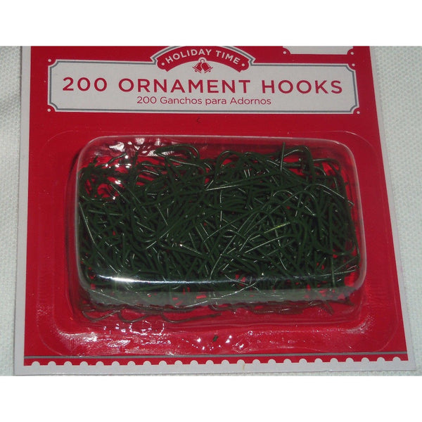 "Green Holiday Time 200 1"" Ornament Hooks Christmas Tree Decoration Wire Hangers"