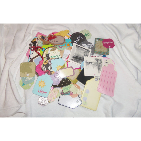100 Random Assorted Colors & Sizes Tags Gift Paper Hang Tags All Have A Hole