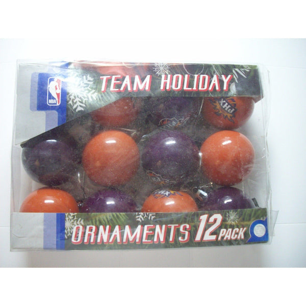 "12 NBA Phoenix Suns Christmas Ornaments 2"" Plastic Ball Orange & Purple"