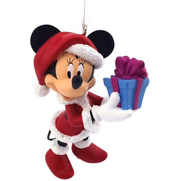 Hallmark 2016 Disney Minnie Mouse Santa Holding Blue Gift In Original Box