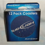 "Box of 12 Bud Light Coasters 4"" Round Heavy Thick Paper"