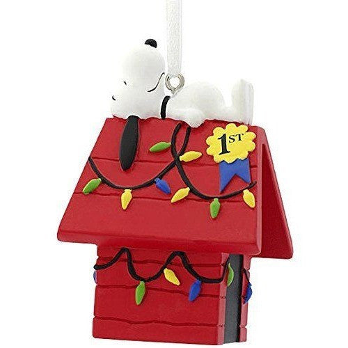 Hallmark 2016 Peanuts Snoopy on Doghouse 1st Place Christmas Ornament