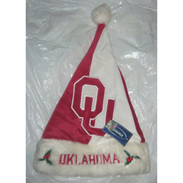 "NCAA Oklahoma Sooners Colorblock Plush Embroidered 18"" Tall Christmas Santa Hat"