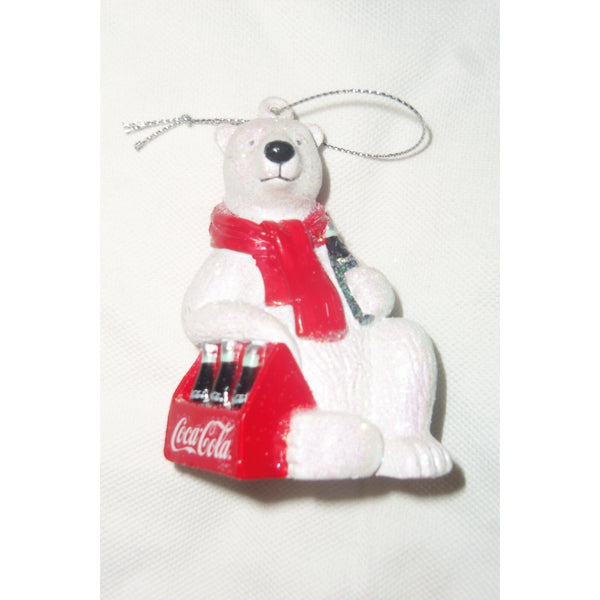 Kurt S. Adler Coca-Cola Polar Bear Holding 6 Pack Christmas Ornament