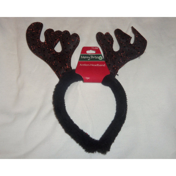 Merry Brite Christmas Brown Sequin Antlers Headband