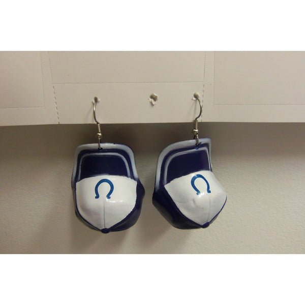 "NFL Indianapolis Colts Earrings 2 1/2"" Mini 2-Tone Plastic Hat Danglers bill"