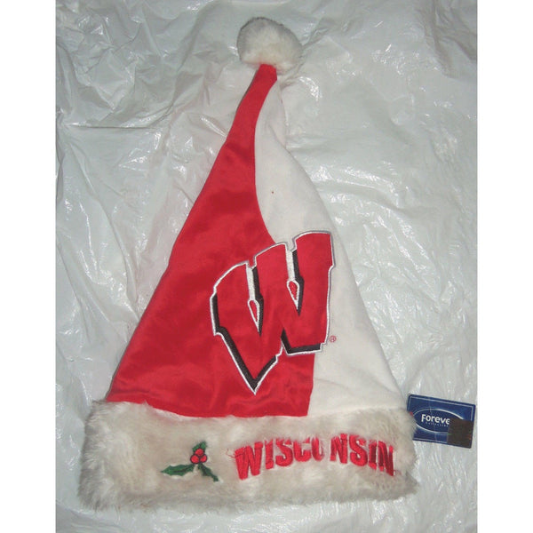 "NCAA Wisconsin Badger Colorblock Plush Embroidered 18"" Tall Christmas Santa Hat"