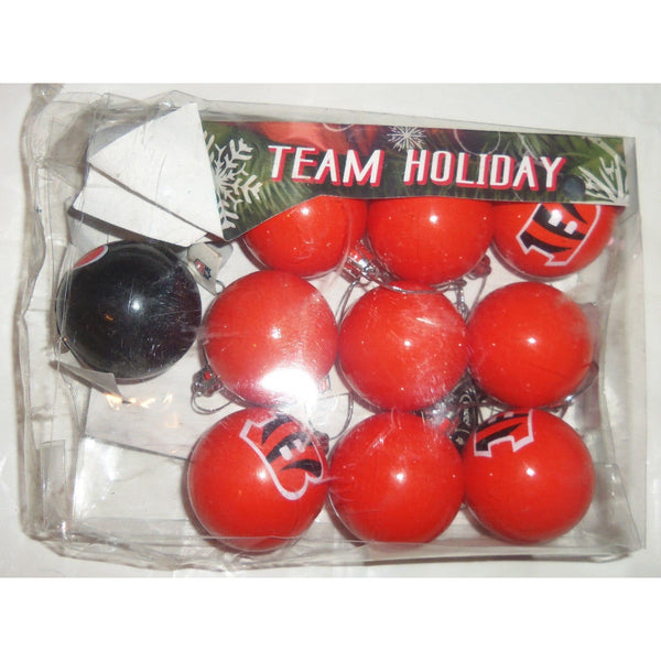 "NFL Cincinnati Bengals Christmas Ornaments 10 ct Lot 2"" Plastic Ball 9 Orange & 1 Brown"