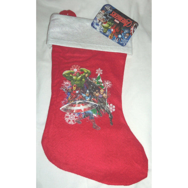 "Marvels Avengers Red 15"" Red Felt Christmas Stocking Image of 6 Characters"