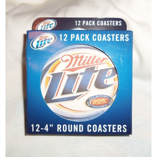 "Box of 12 Miller Lite 4"" Round Heavy Thick Paper Coasters"