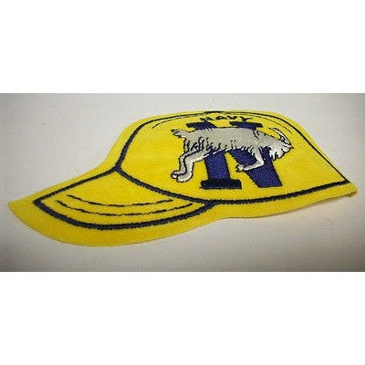 "Navy Midshipmen 1.75"" Logo on 4.75""x3"" Hat Shaped Velour Iron-on Patch"