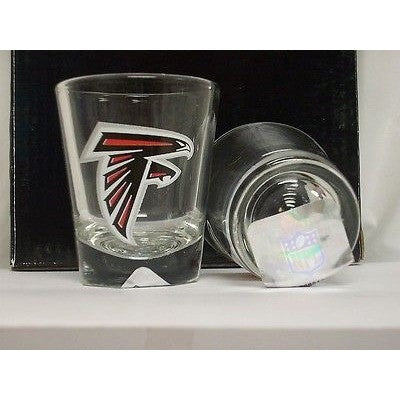 NFL Atlanta Falcons Team Logo on Clear 2 oz Shot Glass Hunter