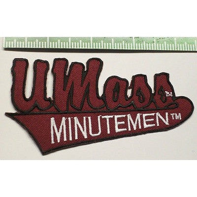 "NCAA U Mass Minutemen 4.25"" Script Over Banner Iron-On Patch"