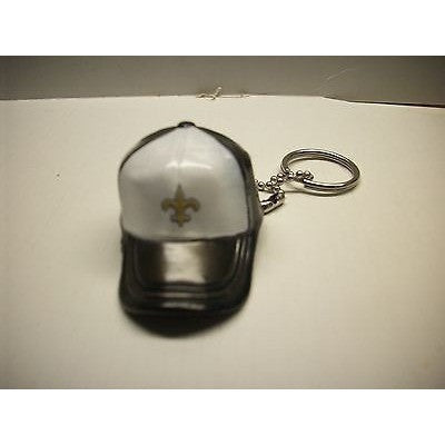 "NFL New Orleans Saints Key Chain Key Ring Keyring 2"" Mini Hat 2-Tone Plastic Cap"